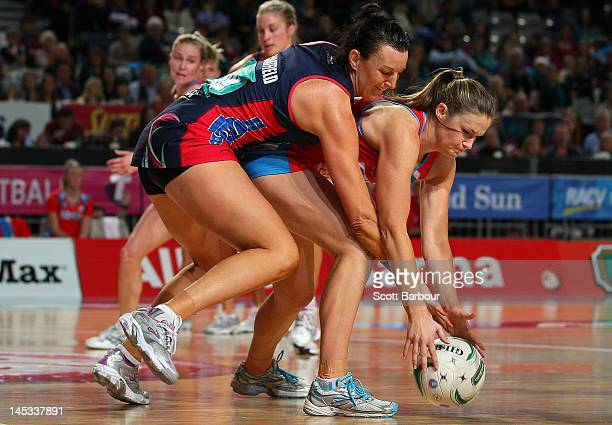 Bianca Chatfield of the Vixens and Susan Pratley of the Swifts compete for the ball during the round nine ANZ Championship match between the...