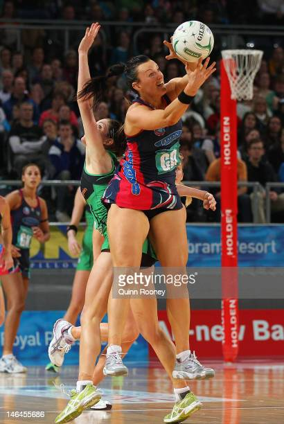 Bianca Chatfield of the Vixens catches the ball during the round 12 ANZ Championship match between the Melbourne Vixens and the West Coast Fever at...