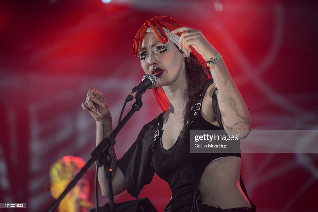 Bianca 'Coco' Casady of CocoRosie performs on stage on Day 4 of Latitude Festival 2013 at Henham Park Estate on July 21, 2013 in Southwold, England.