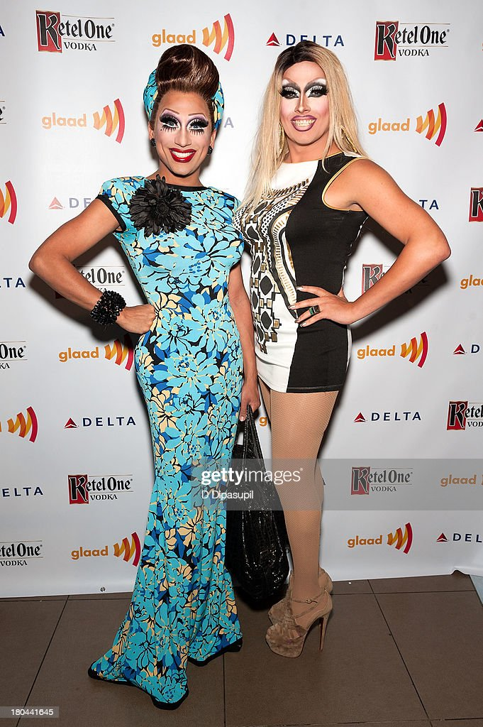 <a gi-track='captionPersonalityLinkClicked' href=/galleries/search?phrase=Bianca+Del+Rio&family=editorial&specificpeople=5601491 ng-click='$event.stopPropagation()'>Bianca Del Rio</a> (L) and Logan Hardcore attend the GLAAD Manhattan Summer 2013 Benefit at Gansevoort Park Avenue on September 12, 2013 in New York City.