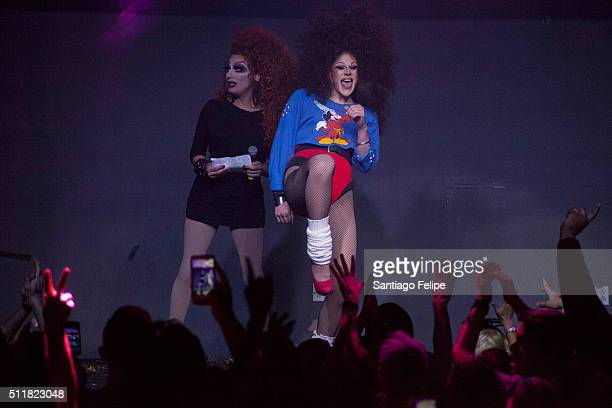 Bianca Del Rio and Thorgy Thor onstage during Logo's 'RuPaul's Drag Race' Season 8 Premiere at Stage 48 on February 22 2016 in New York City