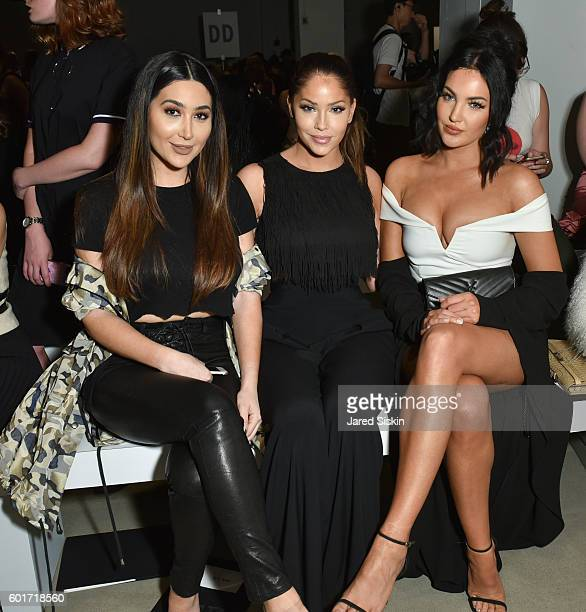 Bianca Espada Olivia Pierson and Natalie Halcro sit front row at the Nicole Miller Spring 2017 Fashion Show at Skylight Clarkson Square on September...