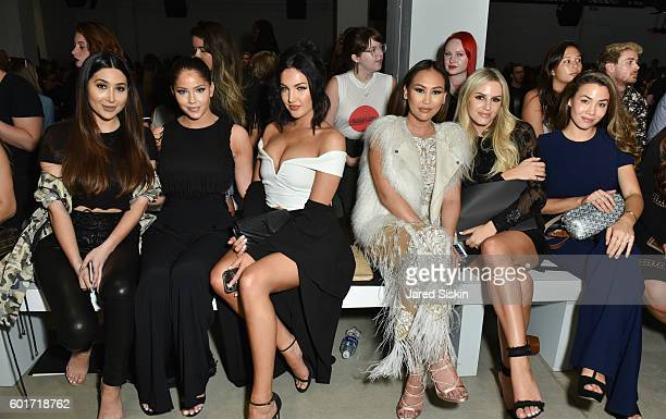 Bianca Espada Olivia Pierson Natalie Halcro Dorothy Wang Morgan Stewart and Sharleen Joynt sit front row at the Nicole Miller Spring 2017 Fashion...