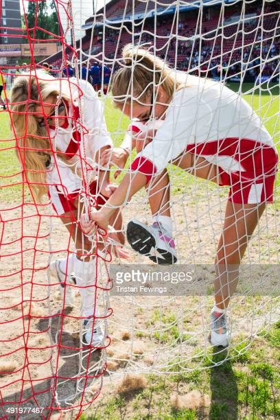 Bianca Gascoigne and Aisleyne HorganWallace attend Soccer Six in aid of Help A Capital Child and the Charlton Athletic Community Trust at Charlton...
