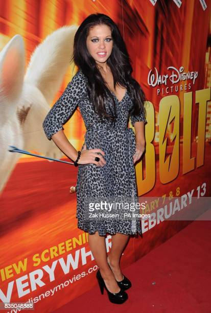 Bianca Gascoigne arrives at the VIP screening of Bolt at Cineworld Cinemas in Haymarket London