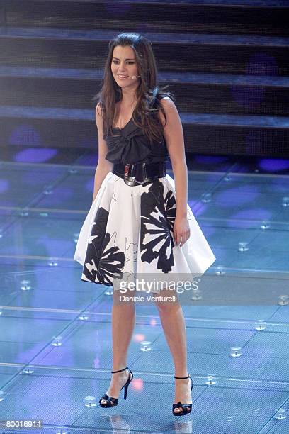 Bianca Guaccero performs at the Teatro Ariston during the second day of the 58th Sanremo Music Festival on February 26 2008 in Saremo Italy