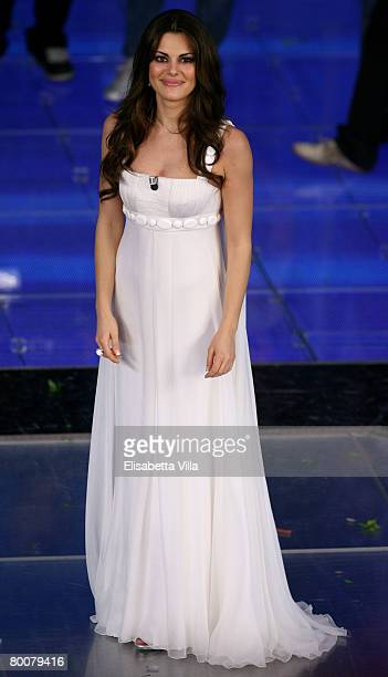 Bianca Guaccero presents during the 58th San Remo Music Festival at the Teatro Ariston on March 01 2008 in San Remo Italy