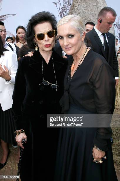 Bianca Jaggegr and Stylist Maria Grazia Chiuri pose backstage after the Christian Dior Haute Couture Fall/Winter 20172018 show as part of Haute...