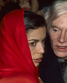 Bianca Jagger and Andy Warhol attend New Year's Eve Party on December 31 1977 at Studio 54 in New York City