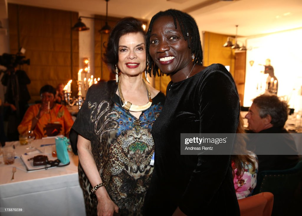 <a gi-track='captionPersonalityLinkClicked' href=/galleries/search?phrase=Bianca+Jagger&family=editorial&specificpeople=216047 ng-click='$event.stopPropagation()'>Bianca Jagger</a> and Auma Obama attend the Cinema for Peace UN women charity dinner at Soho House on July 12, 2013 in Berlin, Germany.