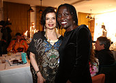 Bianca Jagger and Auma Obama attend the Cinema for Peace UN women charity dinner at Soho House on July 12 2013 in Berlin Germany