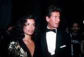 Bianca Jagger and Calvin Klein are photographed at Studio 54 January 5 1980 in New York City