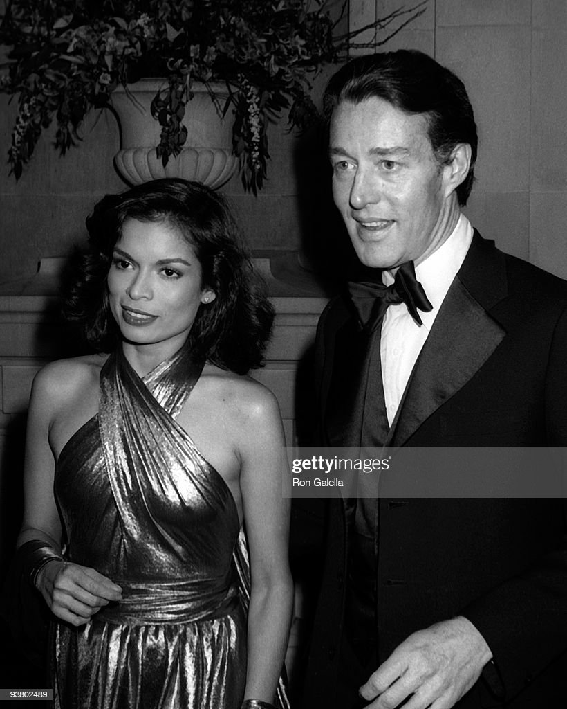 Bianca Jagger and Halston attend the Metropolitan Museum of Art Costume Institute Exhibition of 'Vanity Fair' at the Metropolitan Musem of Art on...