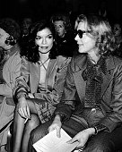 Bianca Jagger and Lauren Bacall attend Yves Saint Laurent Fashion Show on November 5 1974 at the Pierre Hotel in New York City
