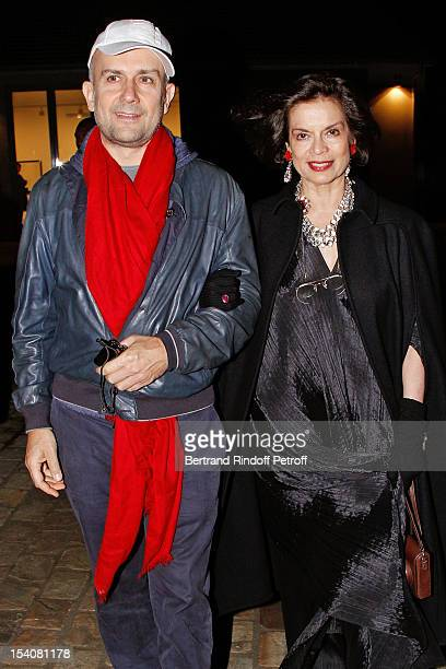 Bianca Jagger and Marc Quinn attend the opening of Thaddaeus Ropac's new gallery on October 13 2012 in Pantin France
