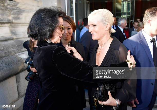 Bianca Jagger and Maria Grazia Chiuri attend 'Christian Dior couturier du reve' Exhibition Launch celebrating 70 years of creation at Loulou Club on...