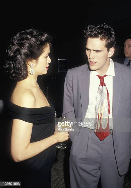 Bianca Jagger and Matt Dillon during 'Art Against AIDS' Benefit at Sotheby's in New York City New York United States