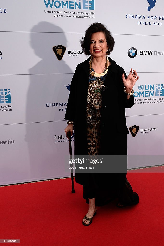 Bianca Jagger arrives for the Cinema for Peace UN women honorary dinner at Soho House on July 12, 2013 in Berlin, Germany.