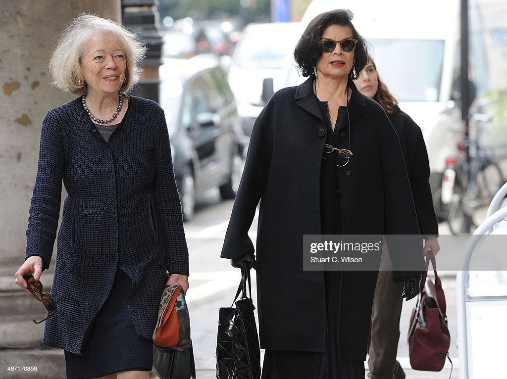 Bianca Jagger (R) attends a memorial service for former British Vogue Editor Beatrix Miller at St George's Church on April 28, 2014 in London, England. She died aged 90 in February 2014 and was the editor of British Vogue from 1964 to 1986.