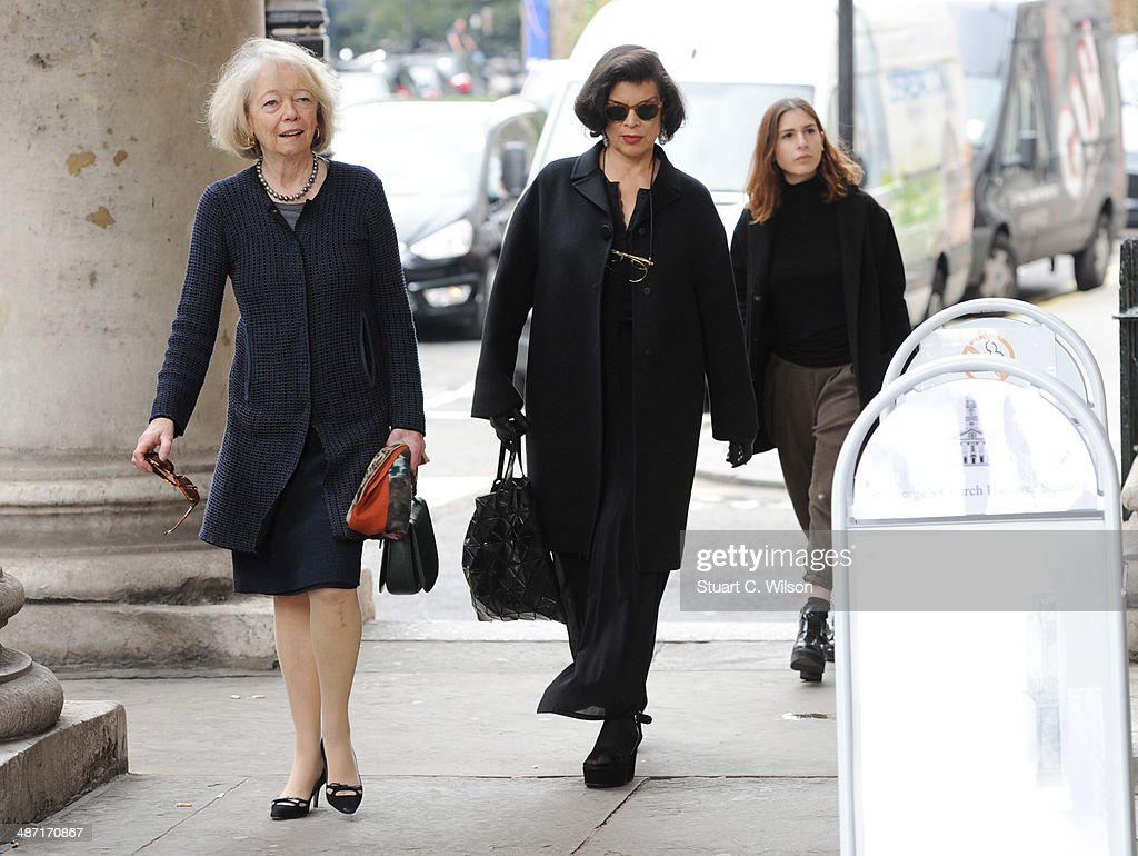 Bianca Jagger (C) attends a memorial service for former British Vogue Editor Beatrix Miller at St George's Church on April 28, 2014 in London, England. She died aged 90 in February 2014 and was the editor of British Vogue from 1964 to 1986.