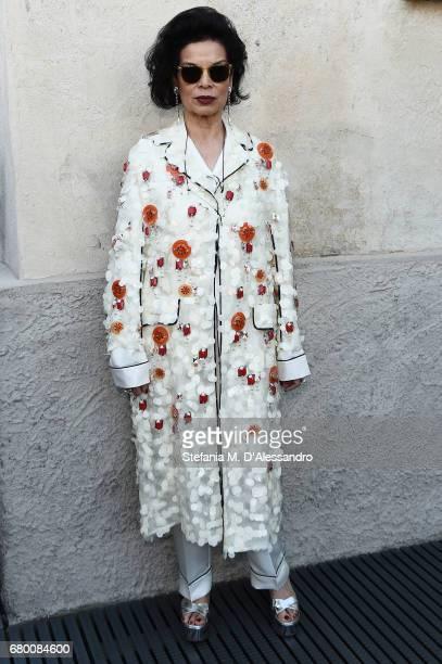 Bianca Jagger attends a 'Private view of 'TV 70 Francesco Vezzoli Guarda La Rai' at Fondazione Prada on May 7 2017 in Milan Italy