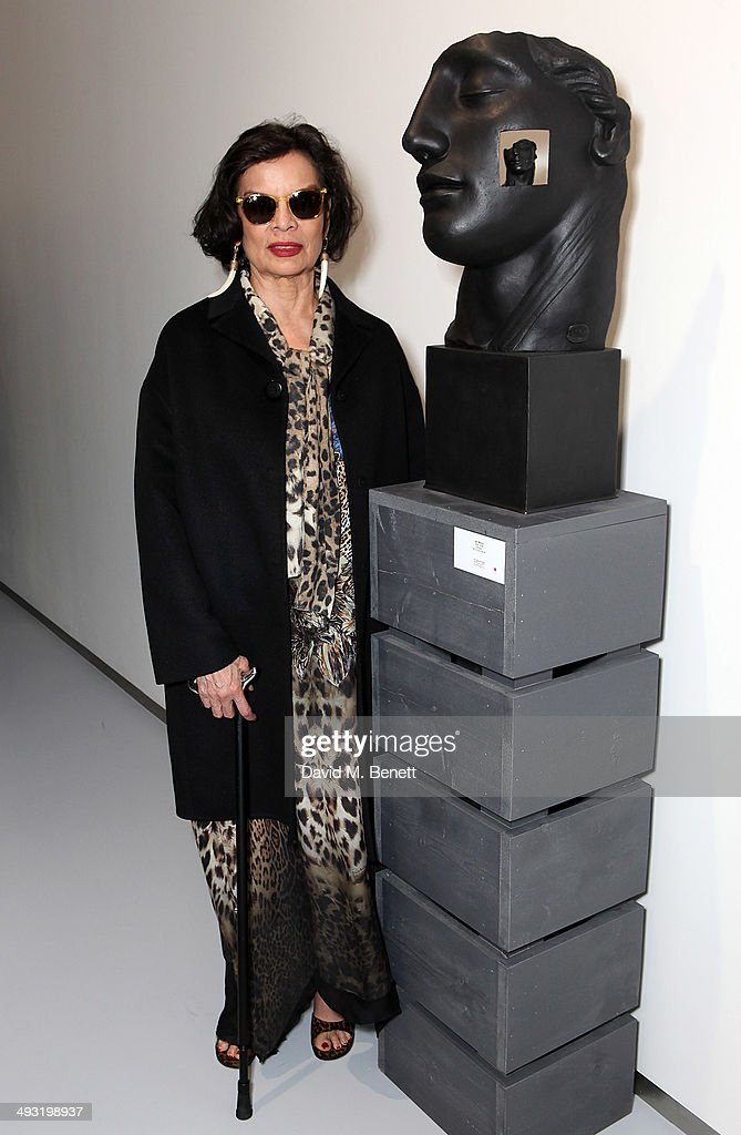 Bianca Jagger attends a private view of works by master sculptor Igor Mitoraj to launch Contini Art UK, a new gallery opening on New Bond Street, on May 22, 2014 in London, England.
