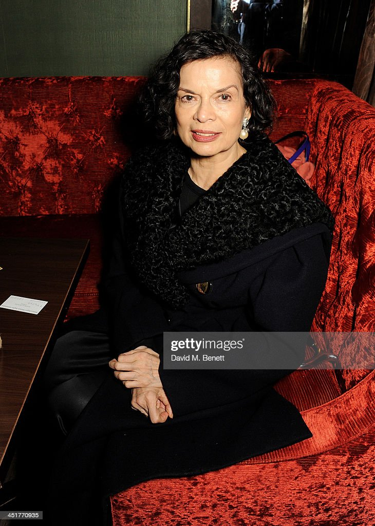 Bianca Jagger attends an after party celebrating the UK Premiere of 'Day Of The Flowers' at The Mayfair Hotel on November 24 2013 in London England