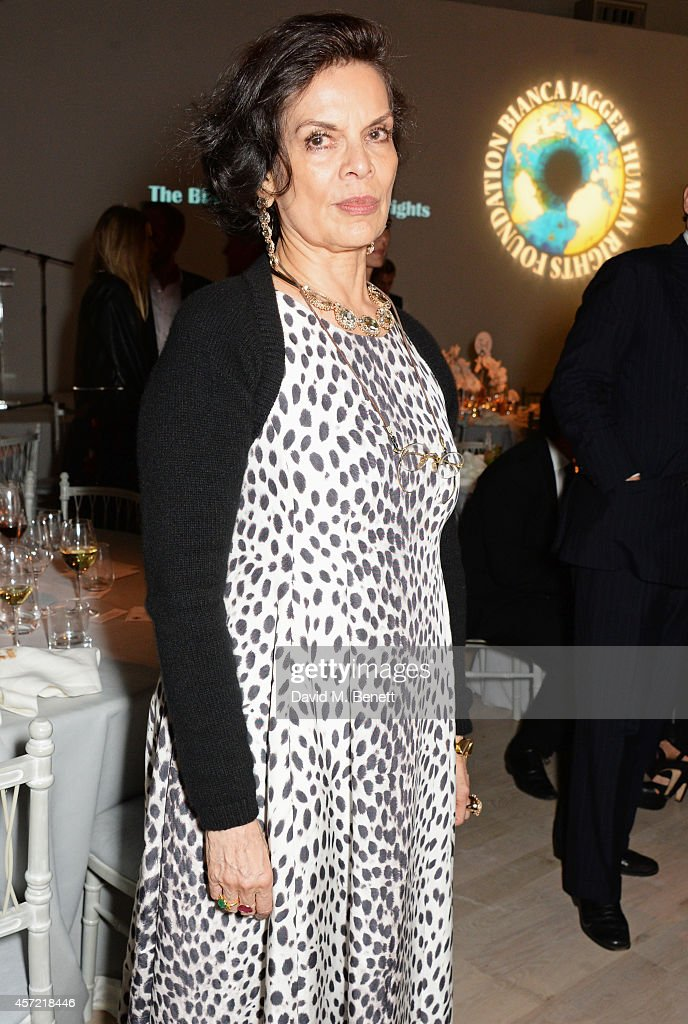 Bianca Jagger attends the Bianca Jagger Human Rights Foundation 'Arts for Human Rights' benefit gala auction at Phillips Gallery on October 14, 2014 in London, England.