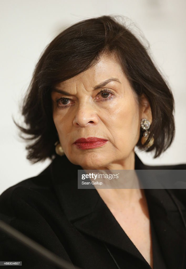 Bianca Jagger attends the Cinema for Peace 2014 press conference at the Regent Hotel on February 10, 2014 in Berlin, Germany.
