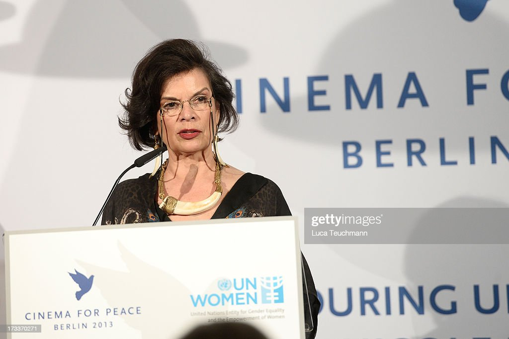 <a gi-track='captionPersonalityLinkClicked' href=/galleries/search?phrase=Bianca+Jagger&family=editorial&specificpeople=216047 ng-click='$event.stopPropagation()'>Bianca Jagger</a> attends the Cinema for Peace UN women honorary dinner at Soho House on July 12, 2013 in Berlin, Germany.