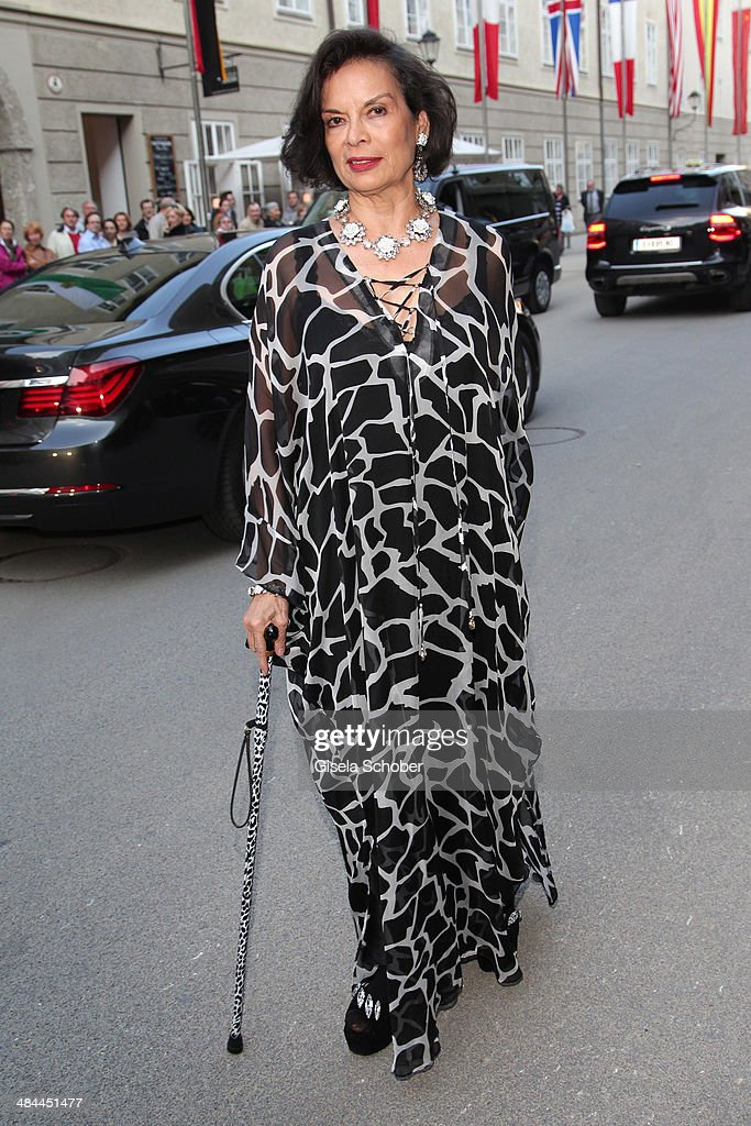 <a gi-track='captionPersonalityLinkClicked' href=/galleries/search?phrase=Bianca+Jagger&family=editorial&specificpeople=216047 ng-click='$event.stopPropagation()'>Bianca Jagger</a> attends the opening of the easter festival 2014 (Osterfestspiele) on April 12, 2014 in Salzburg, Austria.