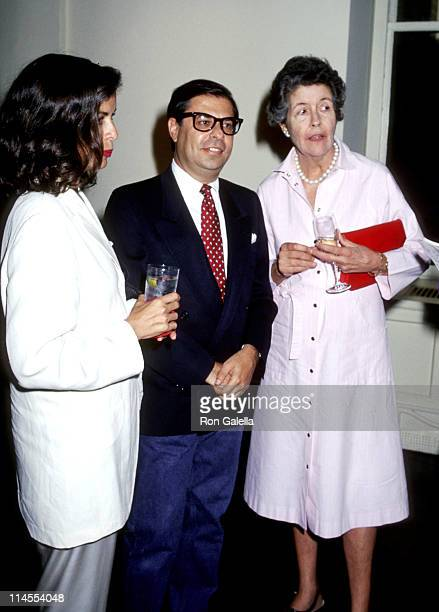 Bianca Jagger Bob Colacello and Lily Auchincloss during Book Party for 'Holy Terror Andy Warhol Close Up' at The Factory in New York New York United...