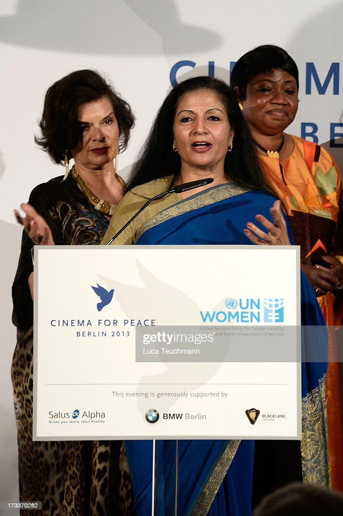 Bianca Jagger, Lakshmi Puri and Fatou Bensouda attend the Cinema for Peace UN women honorary dinner at Soho House on July 12, 2013 in Berlin, Germany.