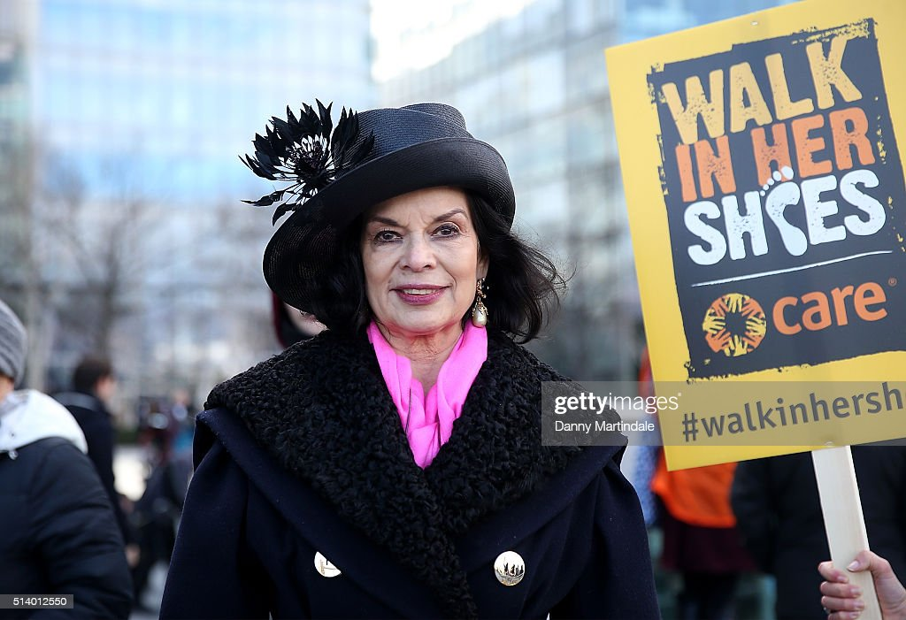 Bianca Jagger lead activists, politicians and 21 century suffragettes to 'Walk In Her Shoes' on March 6, 2016 in London, England.