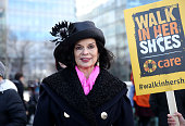 Bianca Jagger lead activists politicians and 21 century suffragettes to 'Walk In Her Shoes' on March 6 2016 in London England