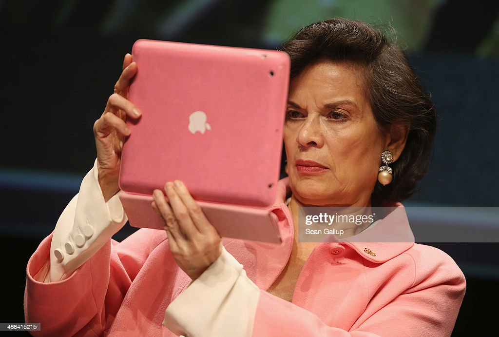 <a gi-track='captionPersonalityLinkClicked' href=/galleries/search?phrase=Bianca+Jagger&family=editorial&specificpeople=216047 ng-click='$event.stopPropagation()'>Bianca Jagger</a> photographs with a iPad after speaking at the 2014 re:publica conferences on digital society on May 6, 2014 in Berlin, Germany. The conference brings together bloggers, developers, human rights activists and others to discuss the course of the digital future. Re:publica will run until May 8.