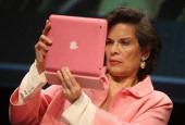 Bianca Jagger photographs with a iPad after speaking at the 2014 republica conferences on digital society on May 6 2014 in Berlin Germany The...