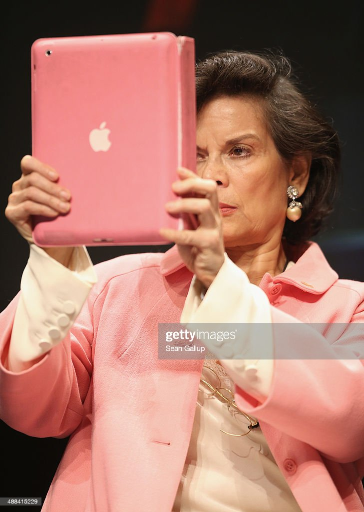 Bianca Jagger photographs with a iPad after speaking at the 2014 re:publica conferences on digital society on May 6, 2014 in Berlin, Germany. The conference brings together bloggers, developers, human rights activists and others to discuss the course of the digital future. Re:publica will run until May 8.