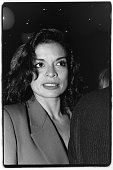 Bianca Jagger poses for a photo in April 1988 at a party for the 25th anniversary of Elaine's restaurant in New York City New York