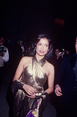 Bianca Jagger wearing a gold lame dress circa 1970 New York