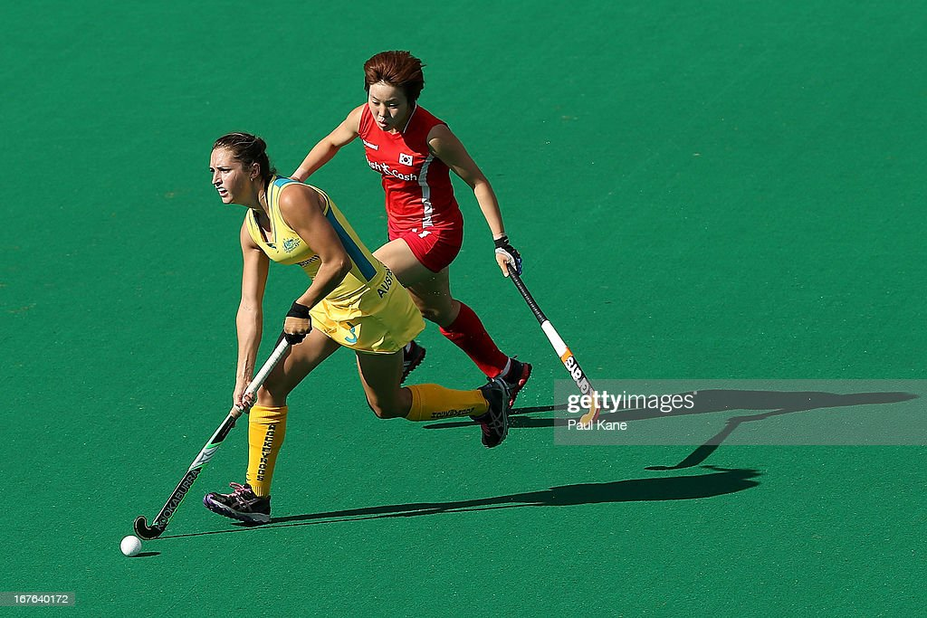 Bianca Joyce of Australia controls the ball against Cho Yun Kyoung of Korea during the International Test match between the Australian Hockeyroos and Korea at Perth Hockey Stadium on April 27, 2013 in Perth, Australia.