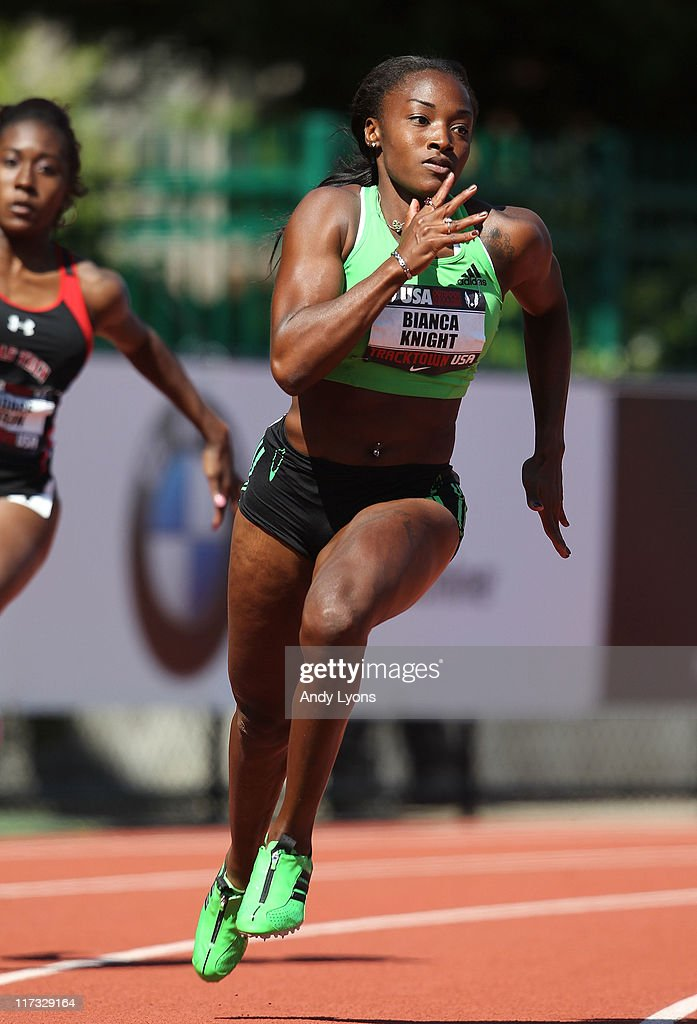 Bianca Knight runs during the first round of the Women's 200 meter during the 2011 USA Outdoor Track & Field Championships at Hayward Field on June 25, 2011 in Eugene, Oregon.