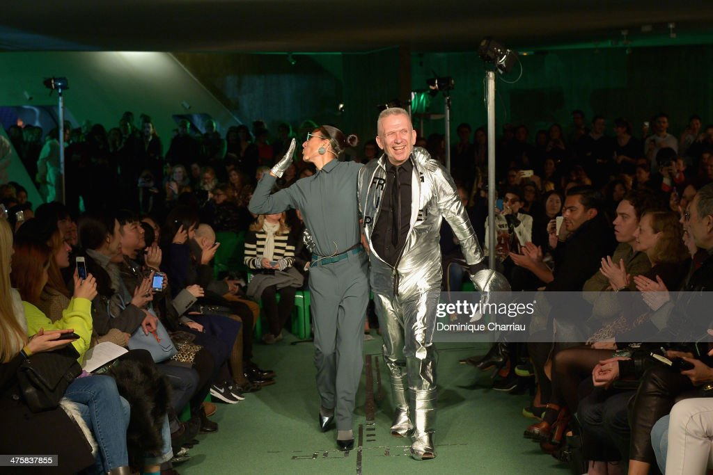 Bianca Li and Jean Paul Gaultier walk the runway during the Jean Paul Gaultier show as part of the Paris Fashion Week Womenswear Fall/Winter 2014-2015 on March 1, 2014 in Paris, France.
