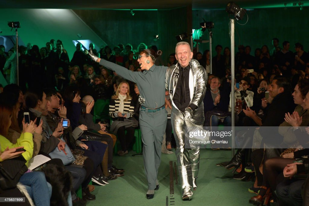 Bianca Li and <a gi-track='captionPersonalityLinkClicked' href=/galleries/search?phrase=Jean+Paul+Gaultier+-+Fashion+Designer&family=editorial&specificpeople=4310036 ng-click='$event.stopPropagation()'>Jean Paul Gaultier</a> walk the runway during the <a gi-track='captionPersonalityLinkClicked' href=/galleries/search?phrase=Jean+Paul+Gaultier+-+Fashion+Designer&family=editorial&specificpeople=4310036 ng-click='$event.stopPropagation()'>Jean Paul Gaultier</a> show as part of the Paris Fashion Week Womenswear Fall/Winter 2014-2015 on March 1, 2014 in Paris, France.