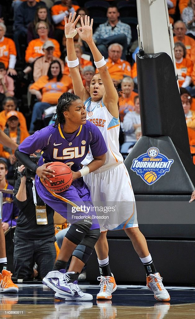 Bianca Lutley #3 of the LSU Tigers dribbles against the Tennessee Volunteers during the SEC Women's Basketball Tournament Championship game at the Bridgestone Arena on March 4, 2012 in Nashville, Tennessee.