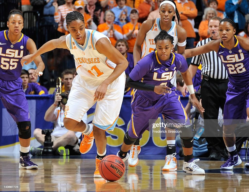 Bianca Lutley #3 of the LSU Tigers goes for a rebound against the Tennessee Volunteers during the SEC Women's Basketball Tournament Championship game at the Bridgestone Arena on March 4, 2012 in Nashville, Tennessee.