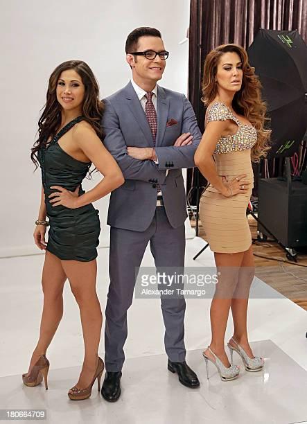 Bianca Marroquin Horacio Villalobos and Ninel Conde is seen backstage at the premiere of Univision's 'Mira Quien Baila' show at Univison Studios on...