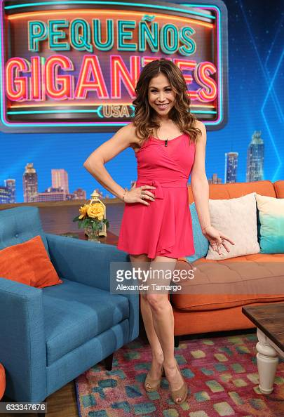 Bianca Marroquin is seen on the set of 'Despierta America' to promote the television show 'Pequenos Gigantes USA' at Univision Studios on February 1...