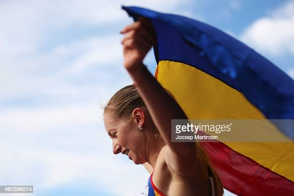 Bianca Razor of Romania celebrates winning the Women's 400m on day three of the European Athletics U23 Championships at Kadriorg Stadium on July 9...