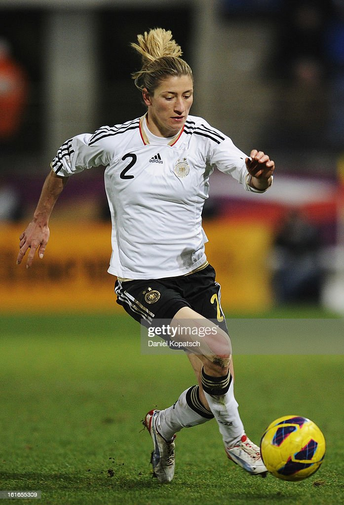 Bianca Schmidt of Germany controles the ball during the international friendly match between France and Germany at Stade de la Meinau on February 13, 2013 in Strasbourg, France.
